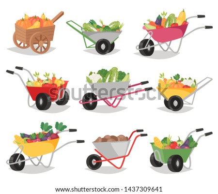 Vegetables in wheelbarrow healthy nutrition of vegetably tomato pepper and carrot in wheel barrow for vegetarians eating farming food illustration vegetated set isolated on white background #1437309641