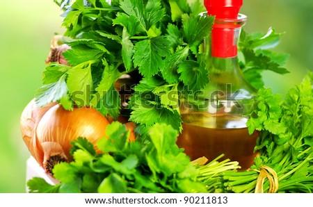vegetables ingredients  and olive oil