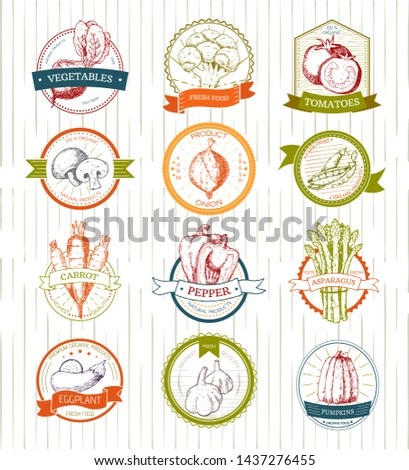 Vegetables logo vegetably logotype tomato or carrot for vegetarians and label of healthy organic food in grocery shop illustration vegetated badges set isolated on white background