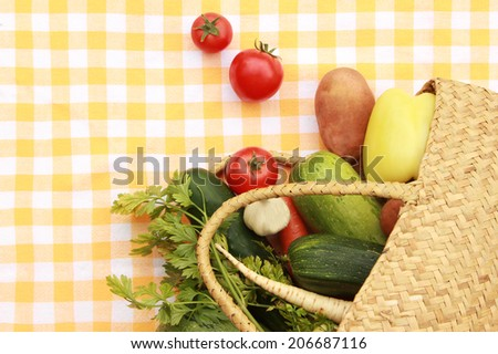 Vegetables Mixed vegetables in the bag - shopping concept Mixed vegetables in the bag - shopping concept