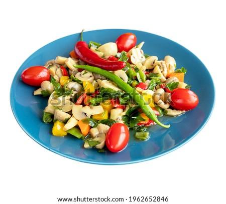 Vegetables Mushroom Salad isolated on a white background. Healthy food. Local name sebzeli mantar salatası Stok fotoğraf ©