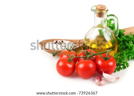 Vegetables, olive oil and spices  isolated on white background