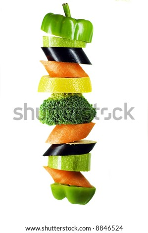 vegetables on a spit - stock photo