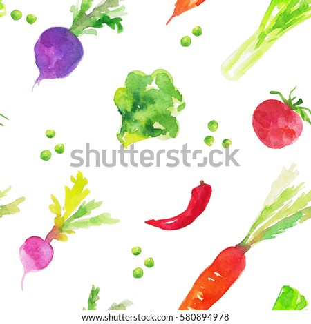 Vegetables on a white background. Hand drawing watercolor. Seamless pattern. #580894978