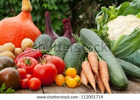 vegetables on a wooden table/vegetables/harvest