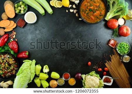 Vegetables on Black Background #1206072355
