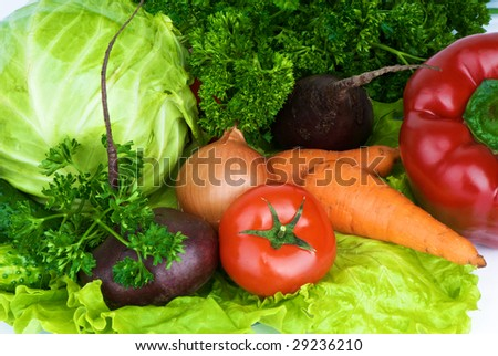 vegetables on lettuce