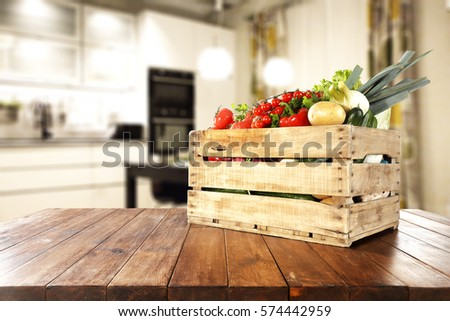 vegetables on table in kitchen