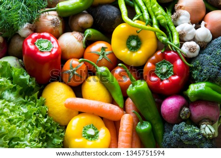 Vegetables on the black background. Organic foods and fresh vegetables. Cucumber, cabbage, pepper, salad, carrot, broccoli, lettuce and tomato on the table.