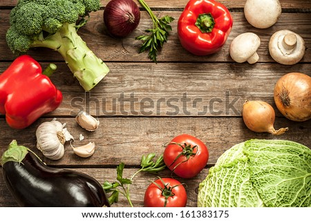Vegetables On Vintage Wood Background - Autumn Harvest. Rural Still Life From Above With Free Text Space.