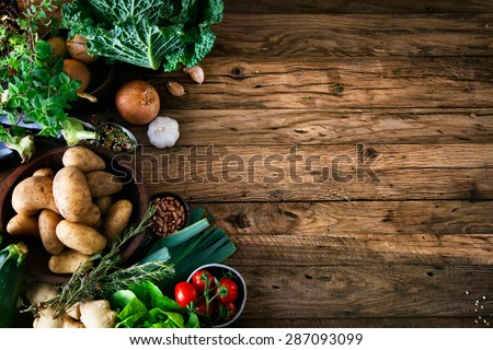 Vegetables on wood. Bio Healthy food, herbs and spices. Organic vegetables on wood #287093099
