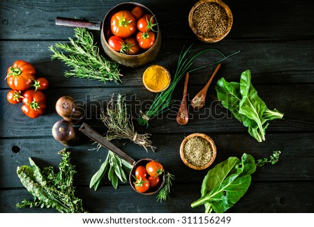 Vegetables on wood. Bio Healthy food, herbs and spices. Organic vegetables on wood