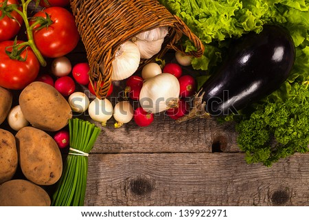 vegetables over wooden background