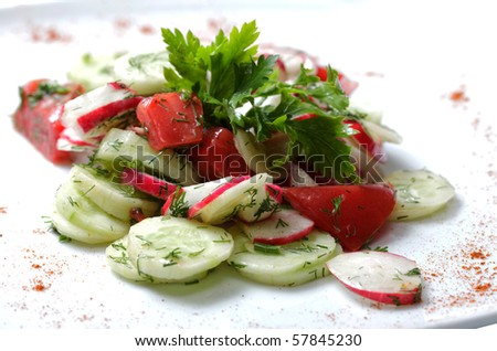 vegetables salad on  white plate. tomatoes and cucumber