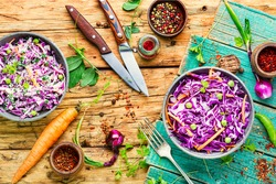 Vegetables salad with purple cabbage and carrot.Coleslaw salad.Fresh vitamin fitness salad