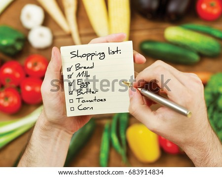 Vegetables shopping list