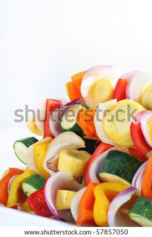 vegetables skewers angle