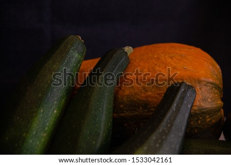 Vegetables: zucchini, pumpkin, still life.