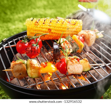 Vegetarian bbq and corncob on a grilling pan