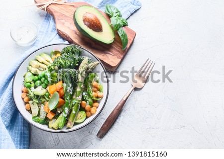 Vegetarian Buddha bowl. Organic and clean food. Healthy and balanced diet eating concept. Top view, flat lay with copy space