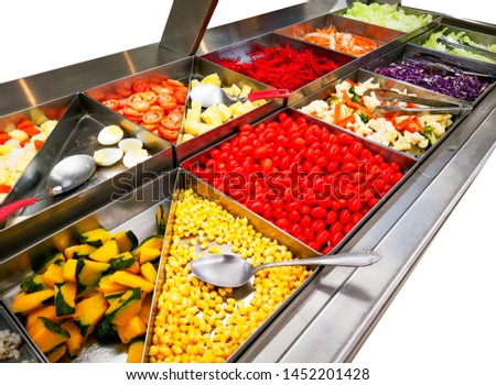 Salad Bar With Vegetables In The Restaurant Healthy Food