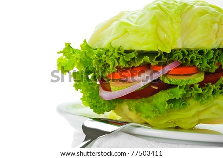 Vegetarian burger - cabbage, tomato, cucumber, onion, lettuce