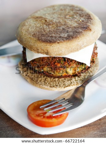 Vegetarian burger ready to eat