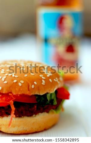 Vegetarian burger. Tasty vegetarian food.