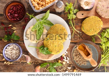 vegetarian burger, vegetarian steak with herb and spices