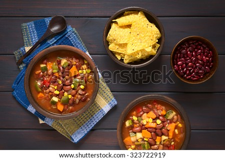 Veggie Chili Beans And Rice With Chili Garlic Chips Recipe ...