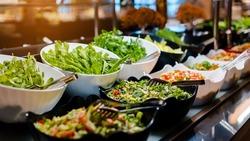 Vegetarian culinary buffet. Cuisine culinary buffet vegetarian restaurant. cold appetizers and vegetables salats.