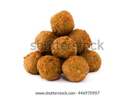 Vegetarian falafels isolated on white background