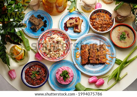 Vegetarian food, colorful and appetizing dishes. A colorful appetizing dish. Culinary photography, food styling. Stock photo ©
