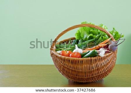 vegetarian food in vine basket