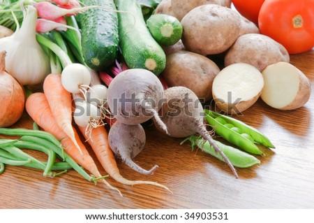 vegetarian food on wood table