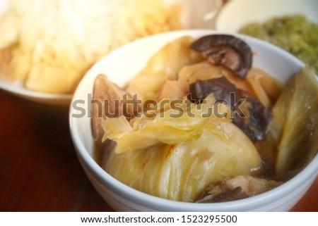 Vegetarian food: The soup stewed cabbage served with steamed rice for vegetarian. Food in Vegetarian festival or Nine emperor gods Festival concept
