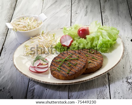 vegetarian hamburger with soy sprout radish and salad