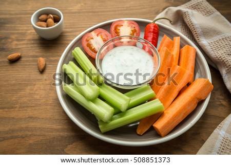 Vegetarian healthy snacks, vegetable snack: carrots, celery, tomatoes Photo stock ©