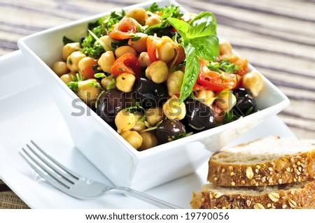 Vegetarian meal of chickpea or garbanzo beans salad