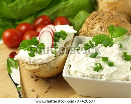 Vegetarian meal with crispy bread, cottage cheese and vegetables