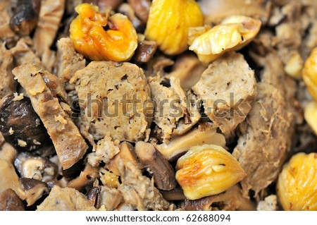 Vegetarian meat ingredients prepared for cooking. For food and beverage and cuisine concepts.