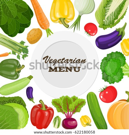 Vegetarian menu cover. Dieting and nutrition. illustration in flat style Raster version #622180058
