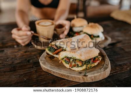 Vegetarian panini sandwiches with coffee Stok fotoğraf ©