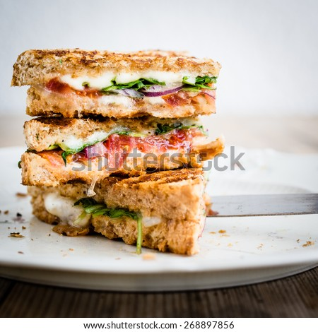 Vegetarian panini with tomatoes and mozzarella on rustic wooden table. Selective focus.