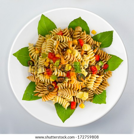 Vegetarian pasta with vegetables top view - stock photo