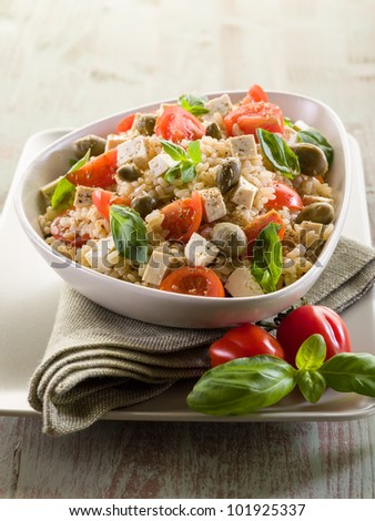 vegetarian rice salad with tofu and brown rice
