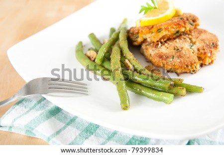 Vegetarian Salmon and Sweet Potato Cakes with Green Beans