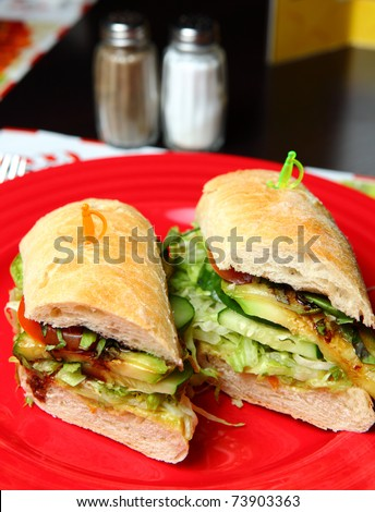 Vegetarian Sandwiches on a Red Plate