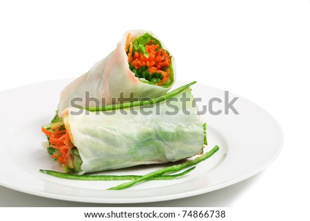 Vegetarian spring roll with carrot and cucumber