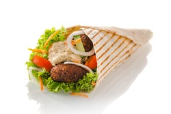 vegetarian tortilla wrap with falafel and hummus, isolated on white background